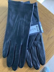 LADIES M&S PURE FINE LEATHER GLOVES - SIZE - SMALL - BLACK - BNWT