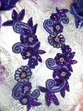 Purple Silver Floral Mirror Pair Beaded Sequin Appliques Patch MOTIF  (0183)
