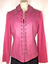 640d779aa8c539 NYGARD Collection S 6 8 Pink Leather Knit SWEATER Jacket Coat Full Zip  Studded