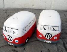 Camper Van Hippy Bus Salt and Pepper Pots Cruet Set Red