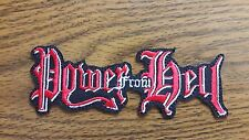 POWER FROM HELL,IRON ON RED WHITE EMBROIDERED PATCH