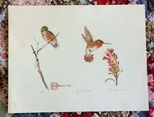 """""""Silent Thieves"""" Hummingbirds, Watercolor Print Signed Nancy Fortunato #123/300"""