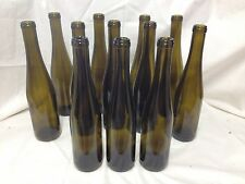 12 Antique Green Stretch Neck 375 ml Glass Beer Wine Bottles - Vase Bottletrees