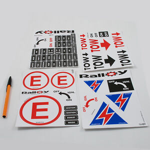 Scrutineering Sticker Battery Cut rally race Fire Extinguisher tow decal
