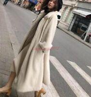Winter Warm Real Genuine Mink Fur Long Coat Womens Soft Fur Thick Jacket Parkas