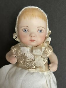 """Artist 4"""" Miniature All Porcelain Painted Baby Doll"""