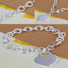 925 Sterling Silver Plated Adjustable Beautiful Thick Chain Heart Charm Bracelet