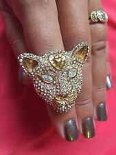 Betsey Johnson Vintage Cougar Panther Leopard Crystal Paved Cat Ring VERY RARE