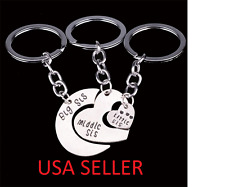 3 Piece Big Middle Little Sister Heart Family Pendant Key Chains - USA SELLER