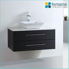 Bathroom Vanity Black Wall Hung Ceramic Basin Stone Top 900 NEW
