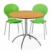 Dining Set Round Natural Table and 2 Green Chairs Chrome Keeler Kitchen Cafe