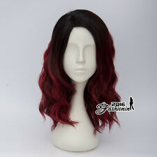 Ombre Black Mixed Red Lolita Curly Women Party Hair Cosplay Wig Heat Resistant