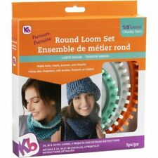 KB Authentic Knitting Board Large Gauge Chunky 5pc Round Loom Set Make Scarves