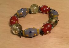 Glass Bead Elastic Band Bracelet Clear Lilac Red Yellow Blue Pewter Metal Discs