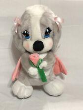 "Sad Sam & Honey ""HONEY"" Plush Stuffed Toy Grey Dog W/ Pink Rose & Wings 11 in."