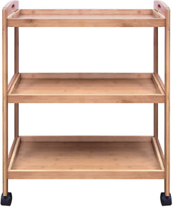 woodluv Bamboo 3 Tier Kitchen Storage Rack Serving Trolley Island Cart With