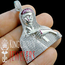 10K White Gold Silver Simu Diamond Lady of Guadalupe Mother Mary Pendant Charm