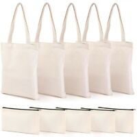 Canvas Pencil Pouch Tote Bags Set,DIY Craft Blank Makeup Bags with Zip CanvZ2C3