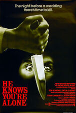 HE KNOWS YOU'RE ALONE 1980 Tom Hanks, Don Scardino UK 1-SHEET POSTER
