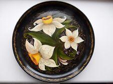 Khokhloma Lacquered Wood Plate Daffodil 92 SIGNED VGC  20 X 3 CM RUSSIA FOLK