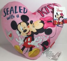 DISNEY MICKEY & MINNIE PINK HEART PILLOW SEALED WITH A KISS!  FREE SHIPPING