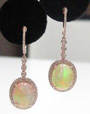 7.39 TCW Oval Opal Gem Diamond Dangling Earrings 14kt Rose Gold ALL NATURAL