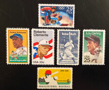 6 Old Baseball Stamps.Babe Ruth,Jackie Robinson, Roberto Clemente Lou Gehrig