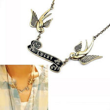 SWALLOW tattoo ROCKABILLY lucky VINTAGE brass BIRD NECKLACE birds ROCK SH