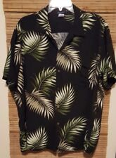 HiS Clothes Hawaiian Shirt Black Tropical Palm 100% Rayon Made in Hawaii USA