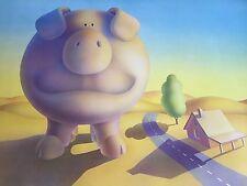 "Authentic LARGE 24"" X 35"" Moskowitz 1970s Cartoon GIANT PIG OUTSIDE FRESNO Print"