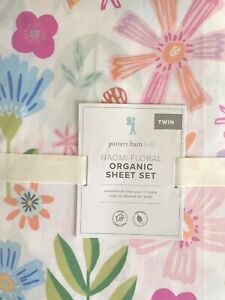 POTTERY BARN KIDS Naomi Floral Organic TWIN Floral Sheets Set - NEW