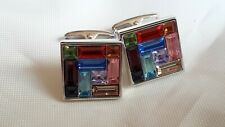 Next Cufflinks Multi-Coloured Crystals Glass 15mm Square Cufflinks Boxed