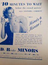 58101 1937 Ephemera Advert De Reszke Minors Leonora Corbett Mine's A Minor