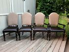 4 Bernhardt Dining Chairs 2 Arm 2 Side Faux Leather Seats Upholstered Backs