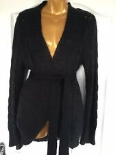 Phase Eight Ladies Black Mohair Blend Long Belted Cardigan Size S