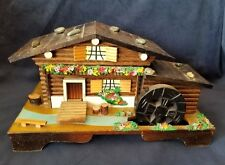 Vintage Jewelry Trinket Mill House Music Box With Mirror Cottage Wood Japan