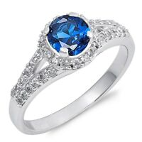 Sterling Silver 925 ROUND BLUE SAPHIRE CZ DESIGN ENGAGEMENT 5MM RING SIZES 4-9