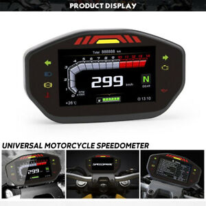12V Universal LED Speedometer LCD Digital Odometer For 2.4 Cylinder Motorcycle