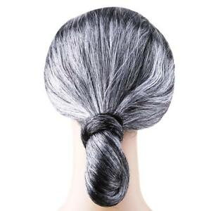 High Quality Granny Wig Hair Headwear NEW Grand Mother Rayon Synthetic Gray N3