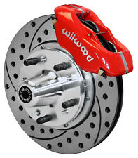 """WILWOOD DISC BRAKE KIT,FRONT,65-72 CDP C-BODY,11"""" DRILLED ROTORS,RED CALIPERS"""