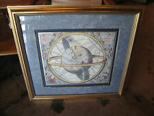 Likely Vintage Large Celestial Chart Print in Gold Frame