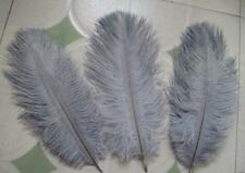 """FEATHERS OSTRICH X  5 pcs SILVER GREY  Millinery and Crafts 4"""" x  6"""""""