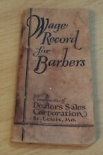 """VTG 1929 Booklet-Advertising~""""WAGE RECORD for BARBERS""""~Razor STROP~"""