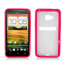 For Sprint HTC EVO 4G LTE TPU Gel GUMMY Hard Skin Case Phone Cover Red Clear