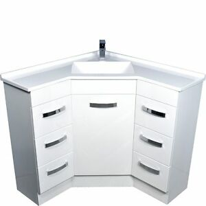 Bathroom Corner Vanity Unit & Artificial Marble basin-top 900mm x 900mm  #9090
