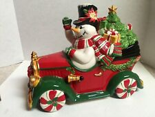 Large Fitz & Floyd Top Hat Frosty In Car With Tree & Presents Cookie Jar-Mint