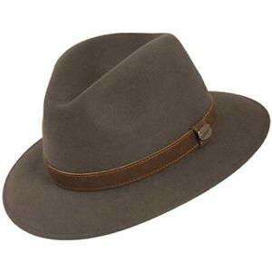 Borsalino Leopardi Crushable Fur Felt Downturn Fedora Hat Grey Size 7 3/4 62CM