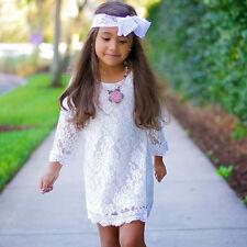 Baby Kinder Mädchen Prinzessin Tutu Festkleid Partykleider Hochzeit Spitze Kleid
