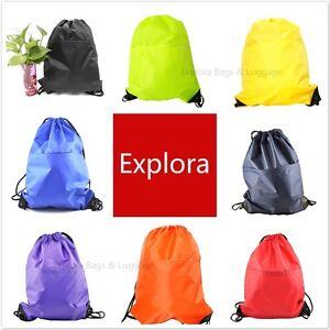 PE String Bags Drawstring Backpack Storage Tote Buggy Bag Sport Pack