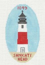 *New* Nantucket Sankaty Head Light handpainted Needlepoint Canvas Silver Needle